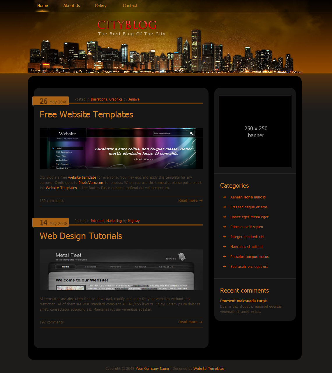City blog free html css templates for Free html blog templates