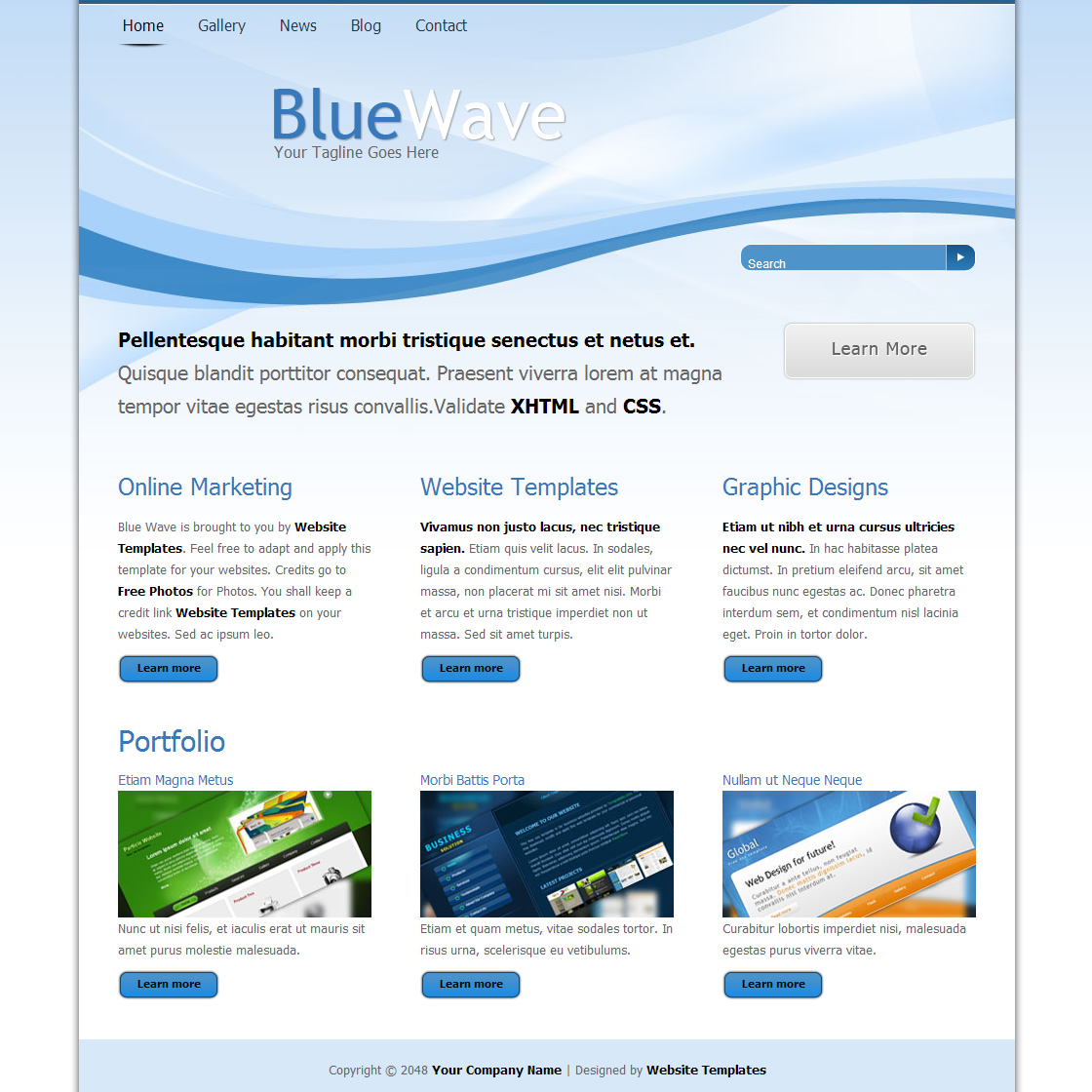 what are html templates - blue wave free html css templates
