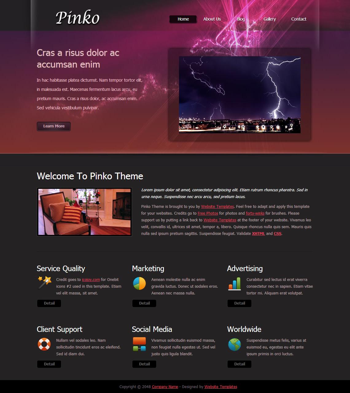 Pinko Theme - Free HTML CSS Templates