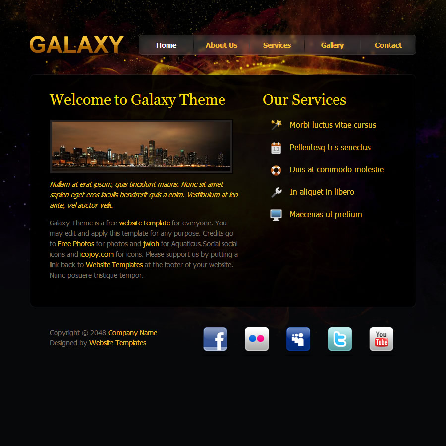 galaxy design free html css templates