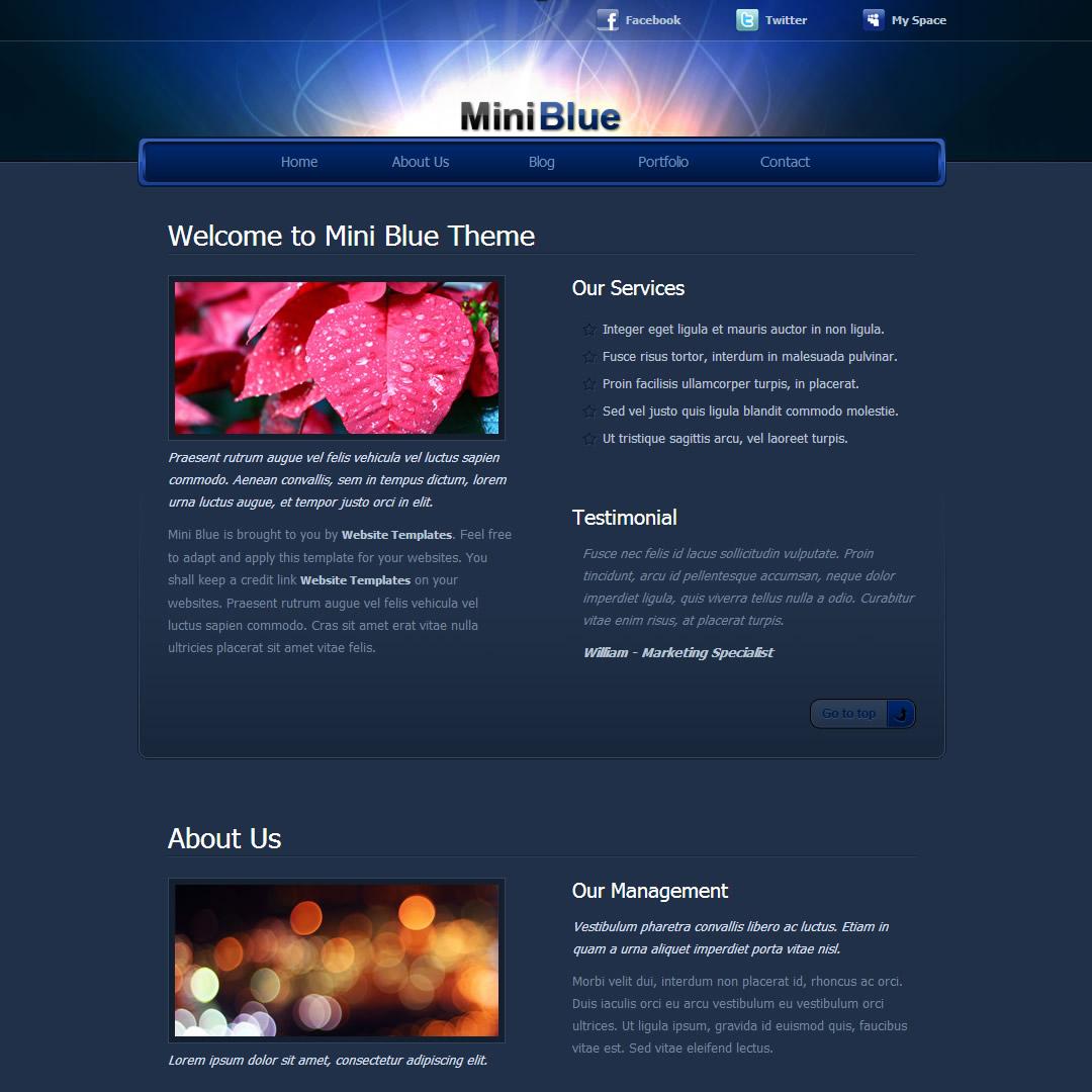 Mini Blue - Free HTML CSS Templates