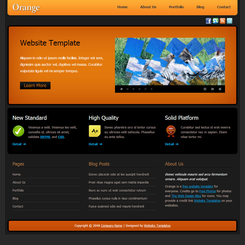 Orange free templates for Dreamweaver layout templates