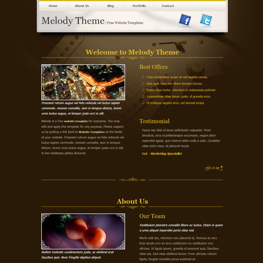 Melody Theme HTML Template