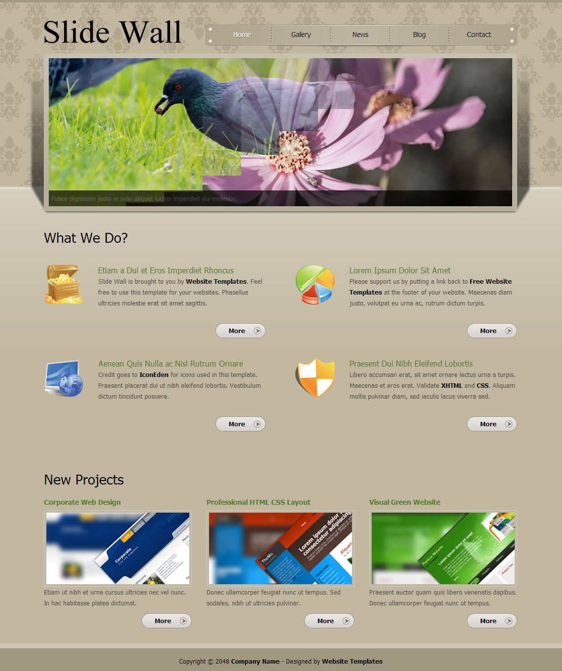 Slide Wall HTML Template