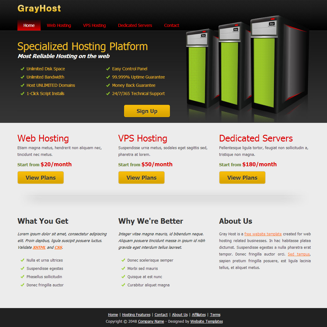 Gray Host HTML Template
