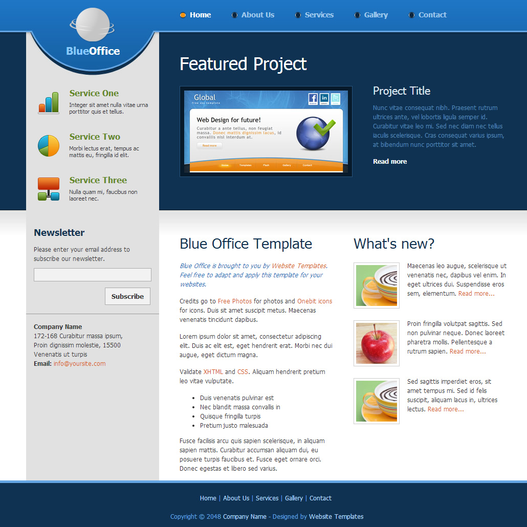 Blue Office Free Html Css Templates
