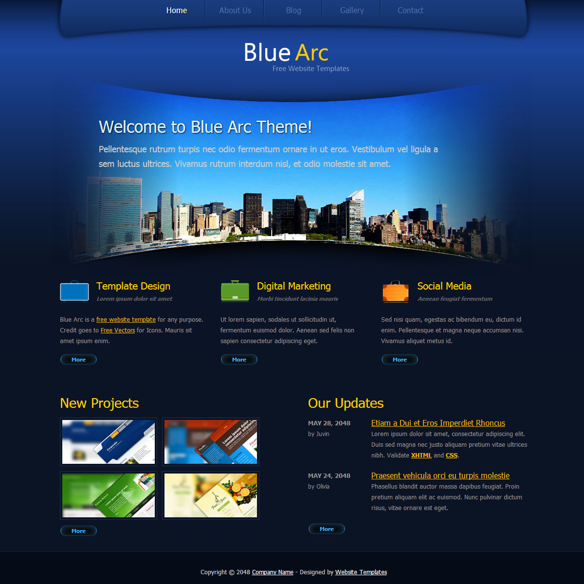 Blue arc design free html css templates for Website layout design software free download