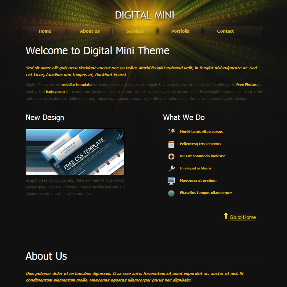 Digital Mini HTML Template