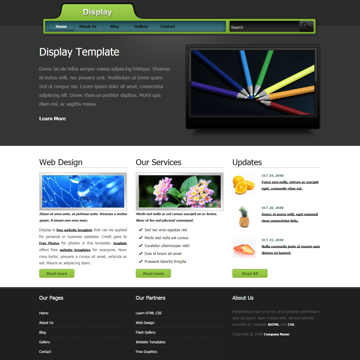 Display HTML Template
