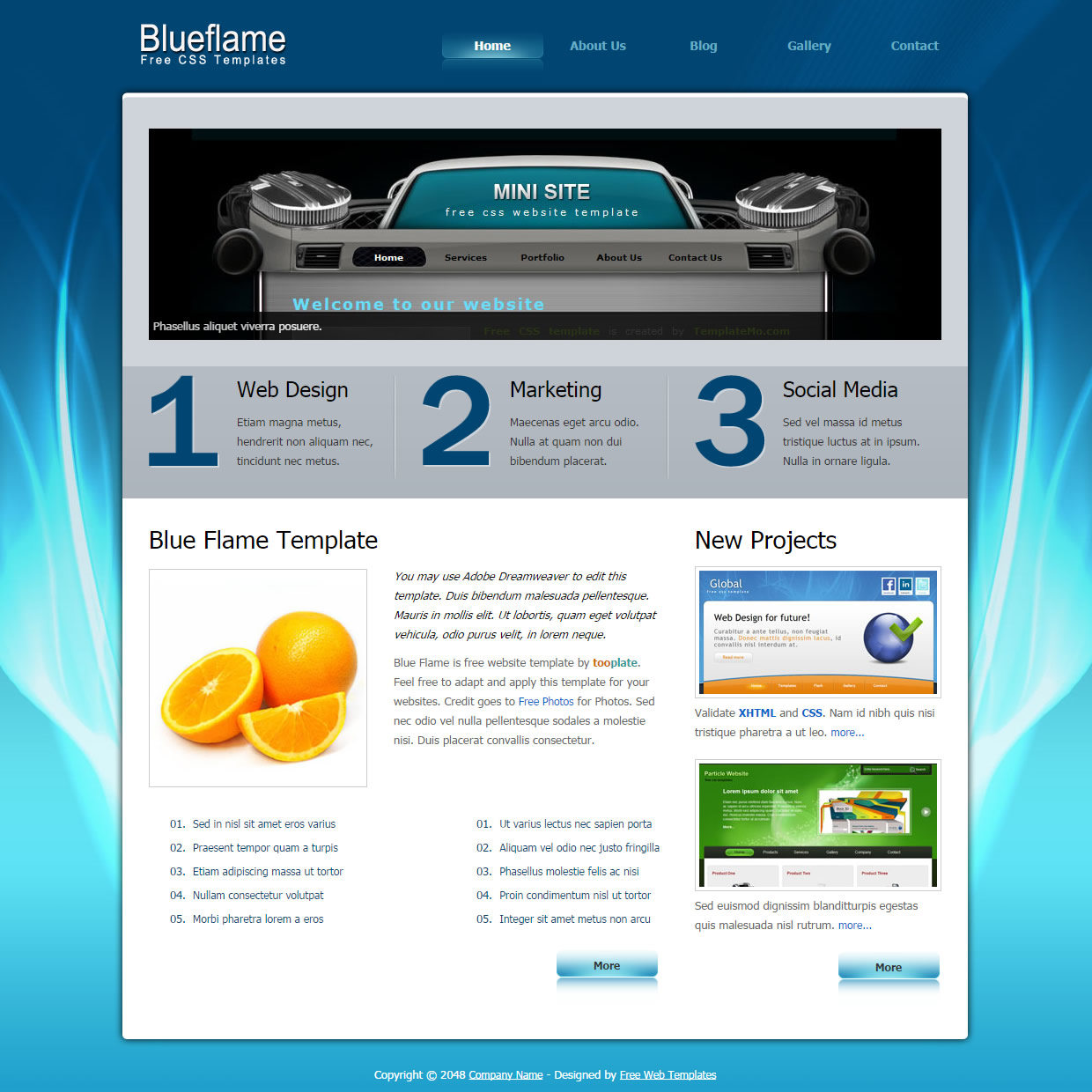 Blue Flame HTML Template