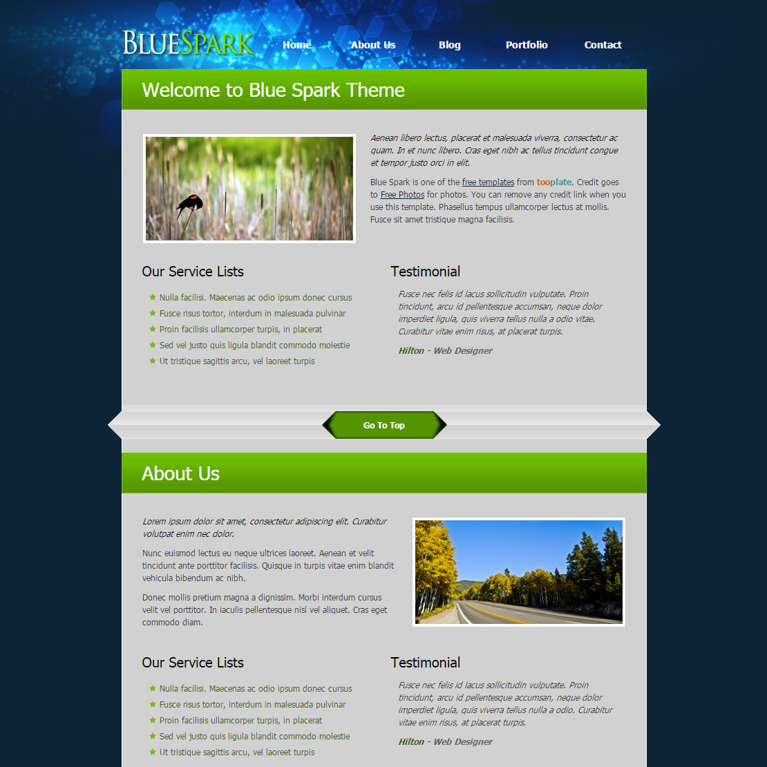 what are html templates - blue spark free templates