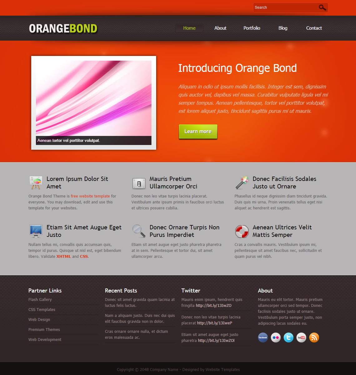Orange Bond - Free HTML CSS Templates
