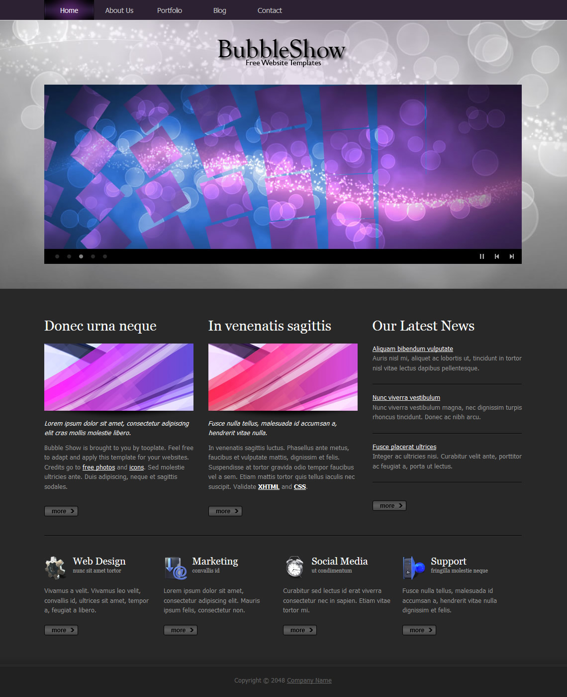 Bubble Show HTML Template