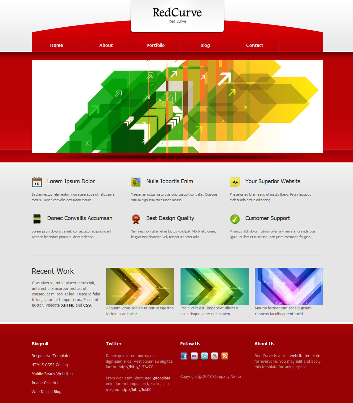 Red Curve HTML Template
