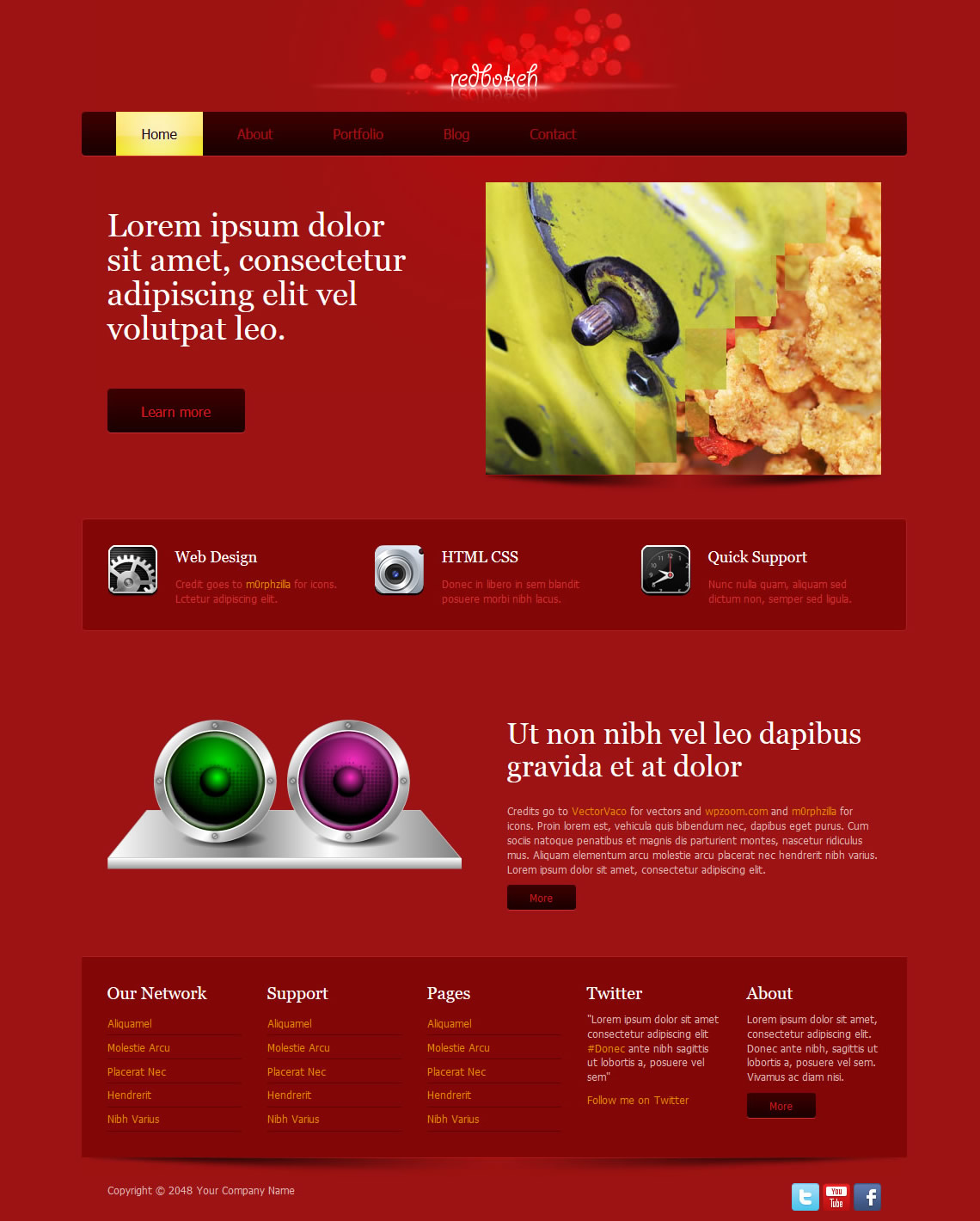 Red Bokeh HTML Template