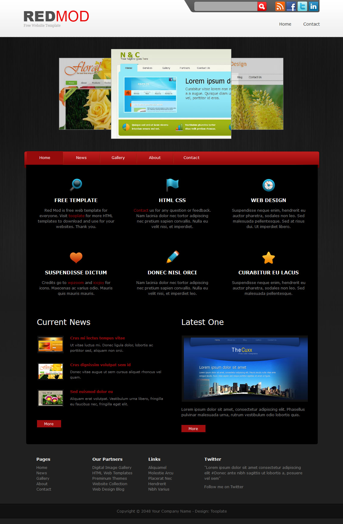 Red mod free html css templates for Html drop down menu templates free download