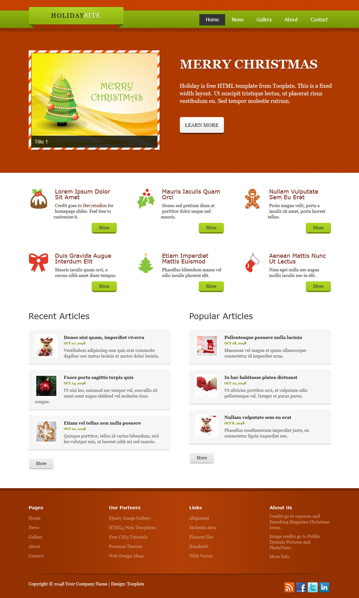 Holiday HTML Template