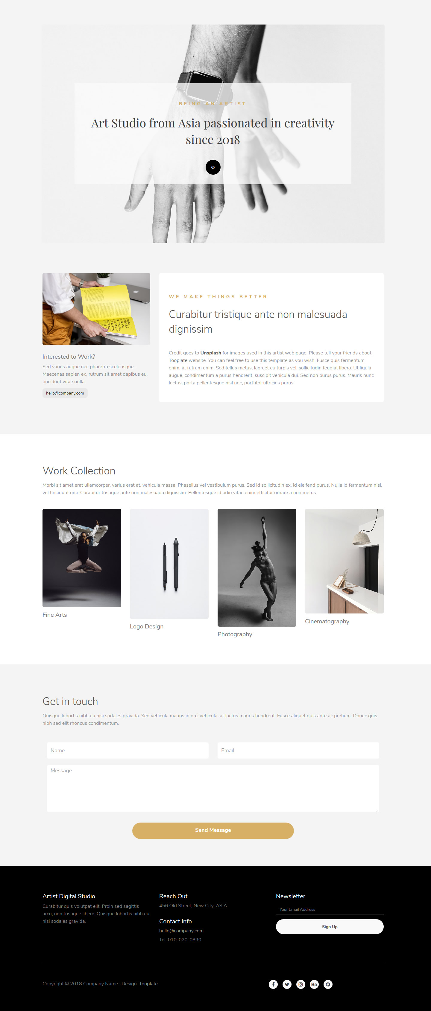 Artist Minimal Page HTML Template