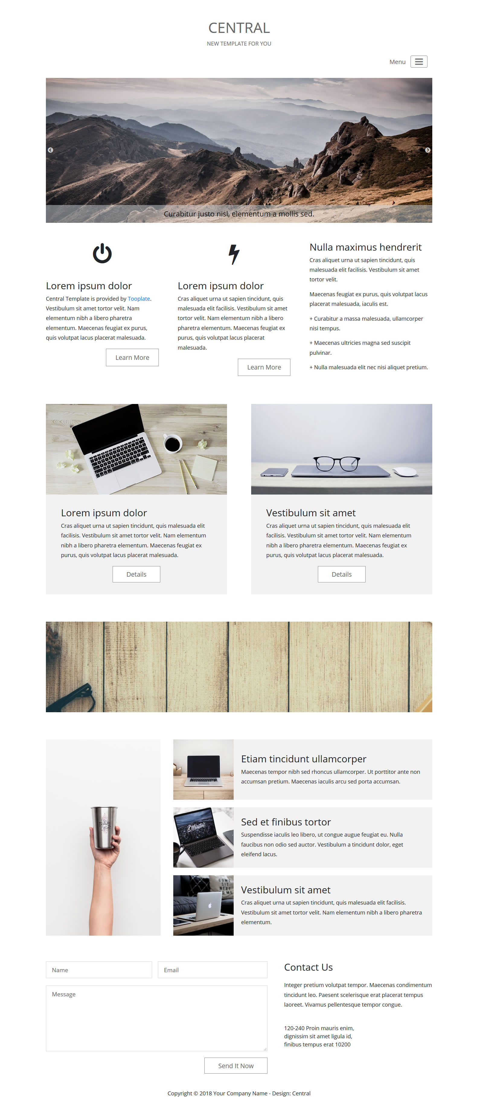 Central Bootstrap 4 HTML Template