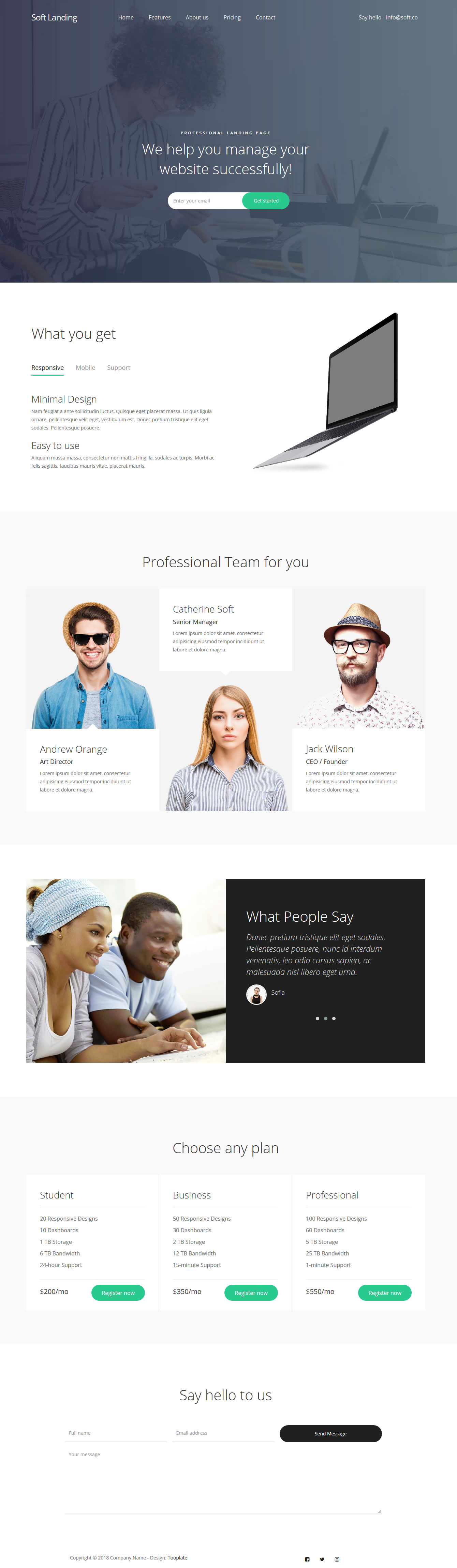 Soft Landing Page HTML Template