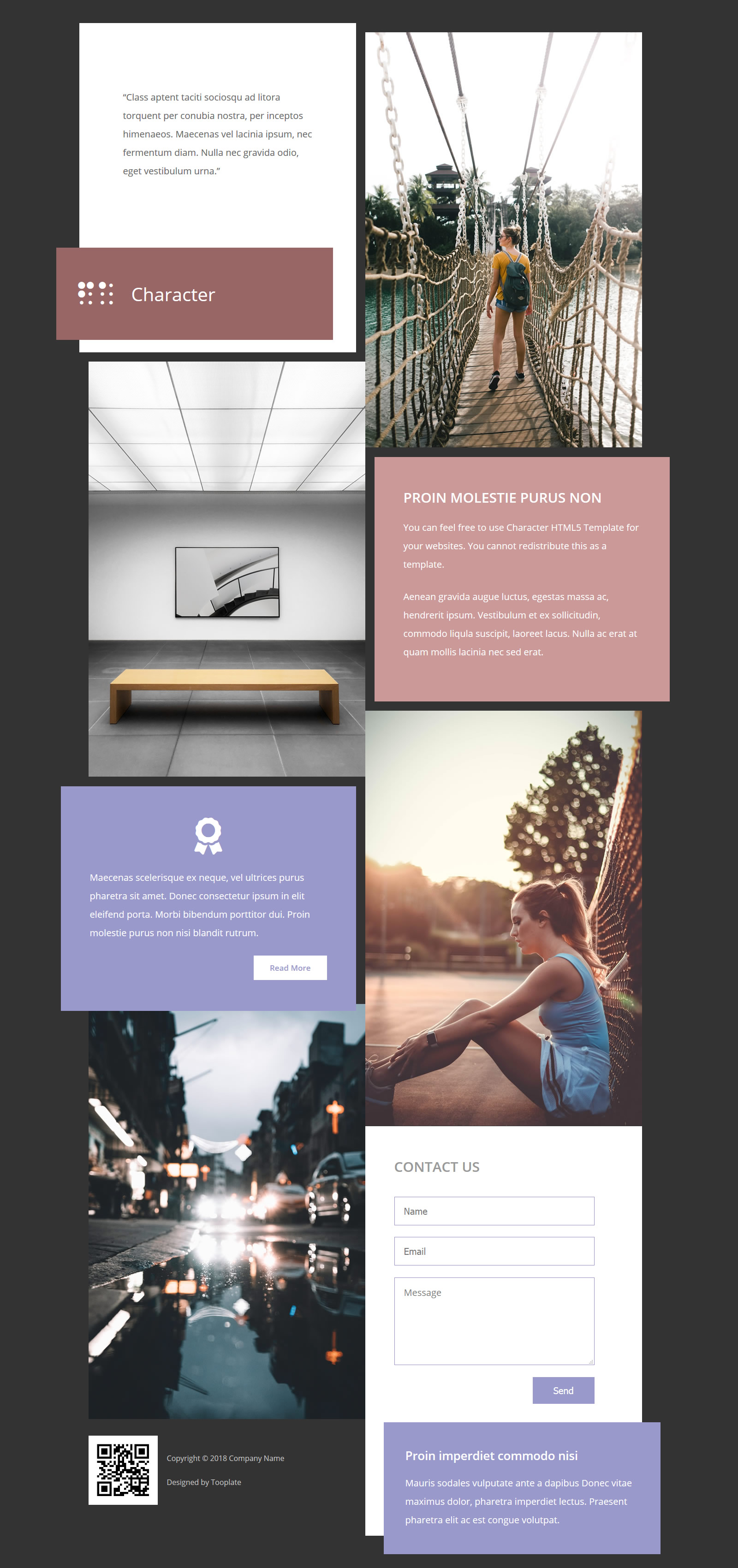 Character HTML5 Page HTML Template